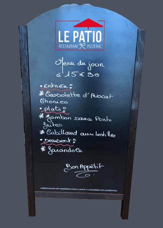 Le Patio, restaurant-pizzeria à Landivisiau (entre Morlaix et Brest), l'ardoise du midi